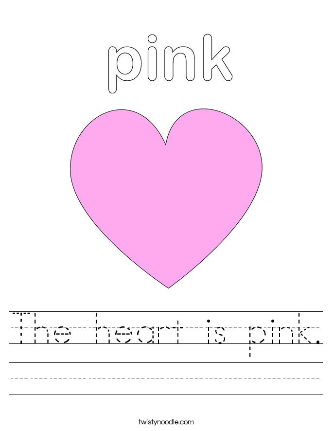Printables Heart Worksheets the heart is pink worksheet twisty noodle worksheet