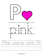 Pink starts with P Handwriting Sheet