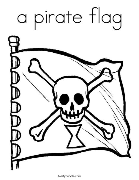 photograph about Pirate Flag Printable referred to as a pirate flag Coloring Site - Twisty Noodle