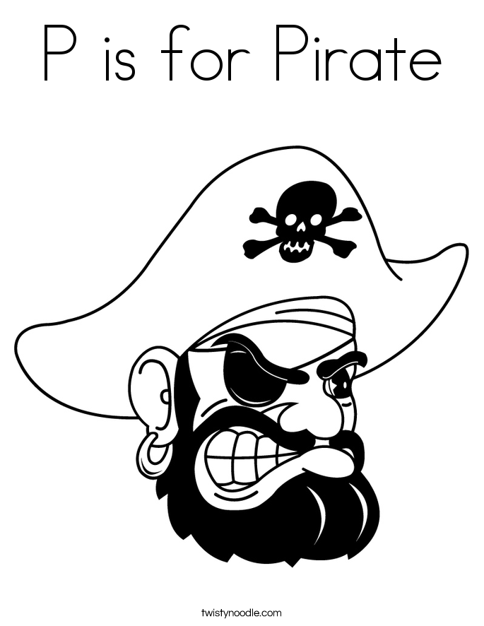P is for Pirate Coloring Page
