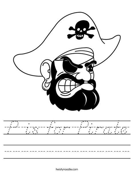 Pirate Head Worksheet