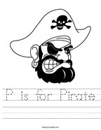 P is for Pirate Handwriting Sheet
