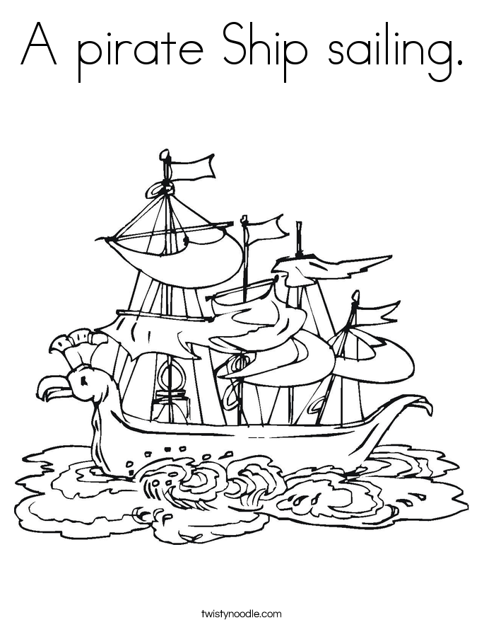 A pirate ship sailing coloring page twisty noodle for Pirate ship sails template