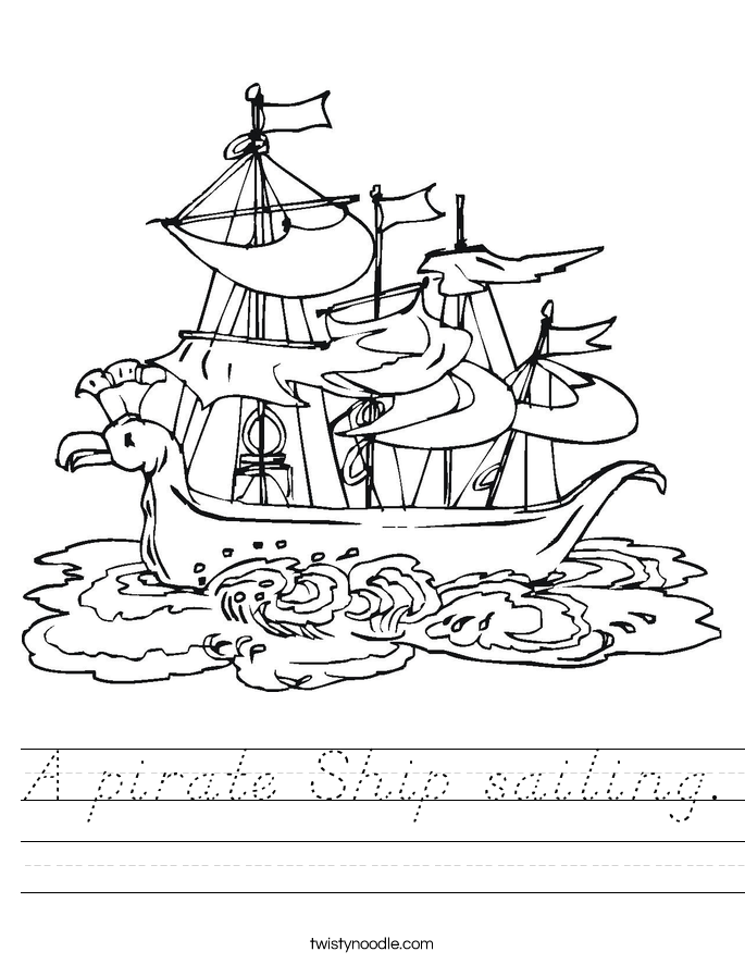 A pirate Ship sailing. Worksheet