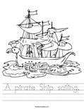 A pirate Ship sailing. Worksheet