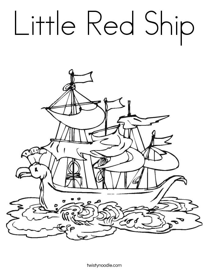 Little Red Ship Coloring Page