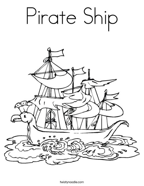 Pirate Ship Coloring Page - Twisty Noodle