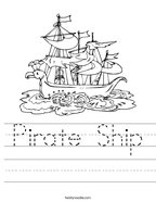 Pirate Ship Handwriting Sheet