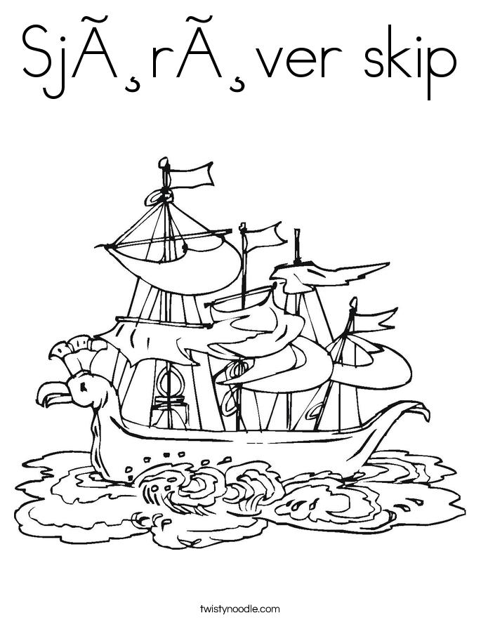 Sjørøver skip Coloring Page