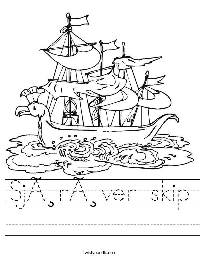 Sjørøver skip Worksheet