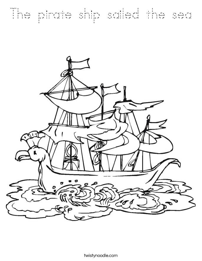 The pirate ship sailed the sea Coloring Page