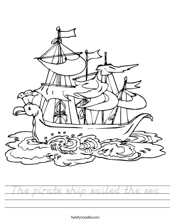 The pirate ship sailed the sea Worksheet