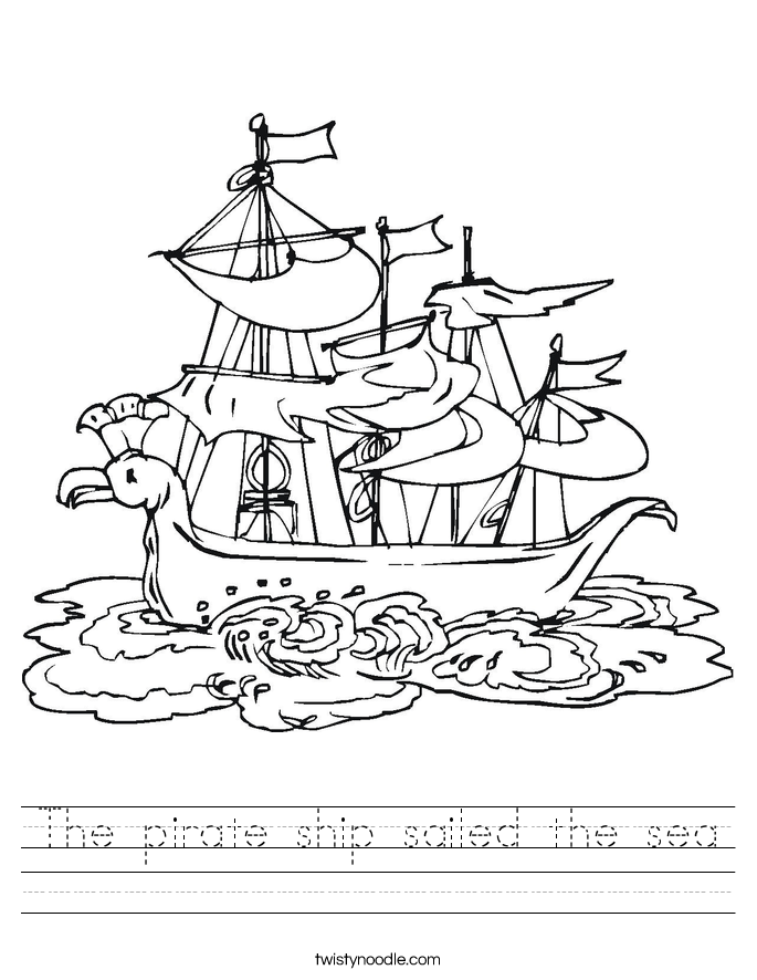 The pirate ship sailed the sea Worksheet