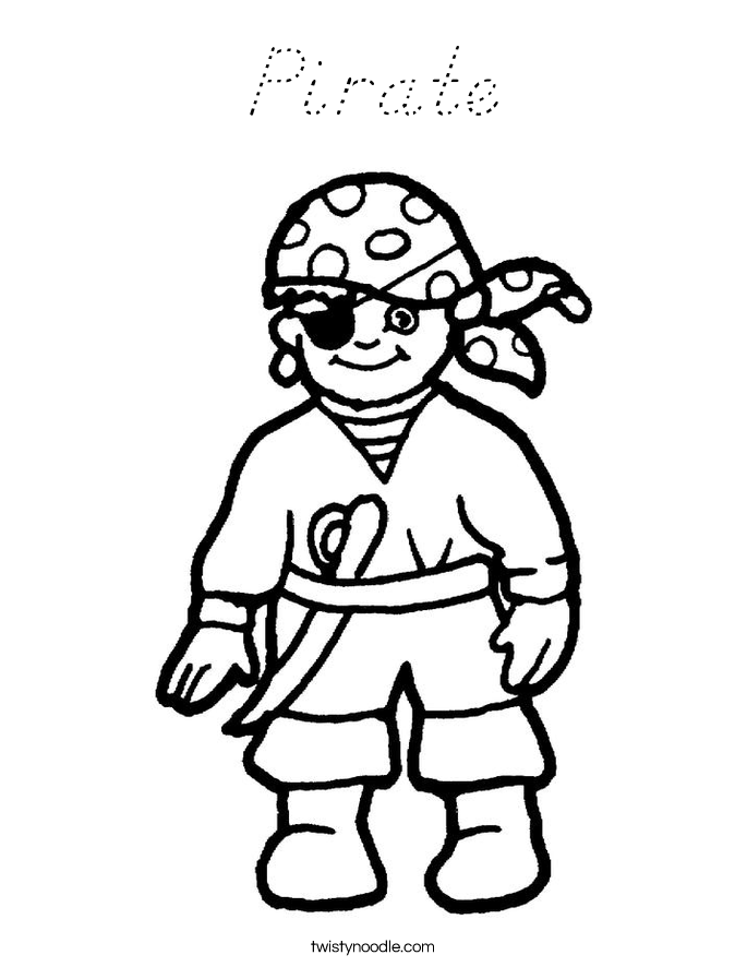 Pirate Coloring Page - D'Nealian - Twisty Noodle