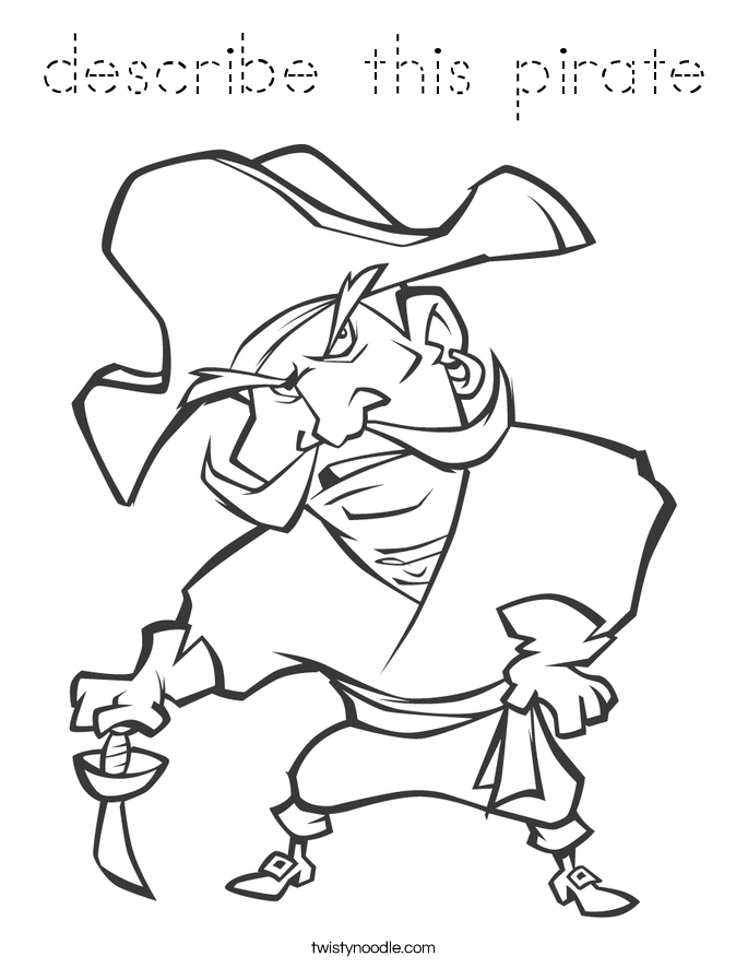 Pirate spot coloring pages ~ describe this pirate Coloring Page - Tracing - Twisty Noodle