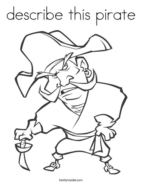 describe this pirate Coloring Page - Twisty Noodle