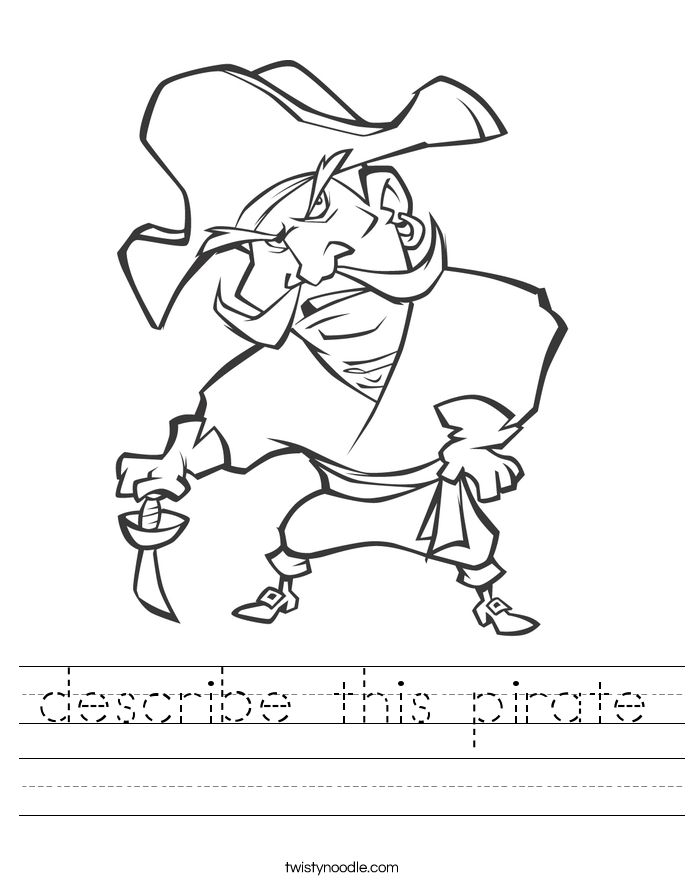 describe this pirate Worksheet