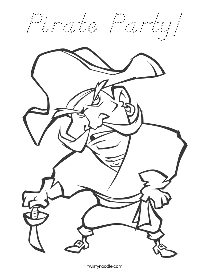 Pirate Party Coloring Page - D'Nealian - Twisty Noodle