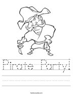 Pirate Party Handwriting Sheet