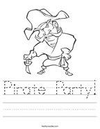 Pirate Party Handwriting Sheet