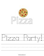 Pizza Party Handwriting Sheet