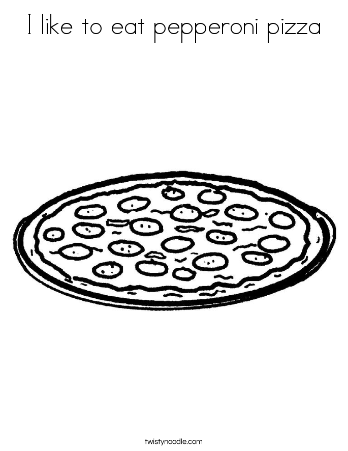 I like to eat pepperoni pizza Coloring Page