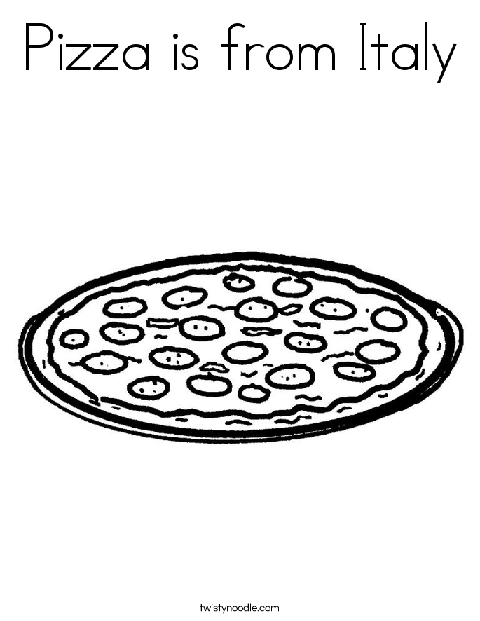 Pizza is from Italy Coloring Page