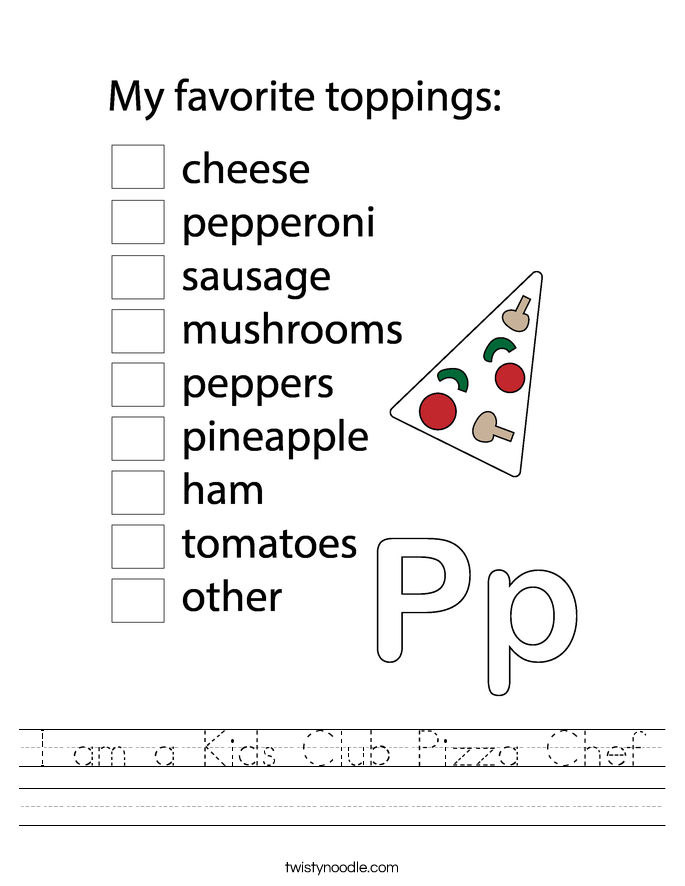 I am a Kids Club Pizza Chef Worksheet
