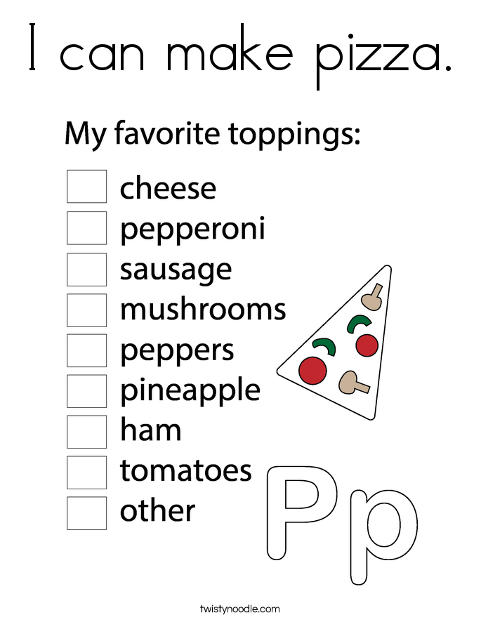 I can make pizza. Coloring Page