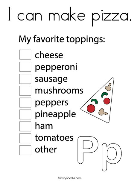 I can make pizza Coloring Page - Twisty Noodle