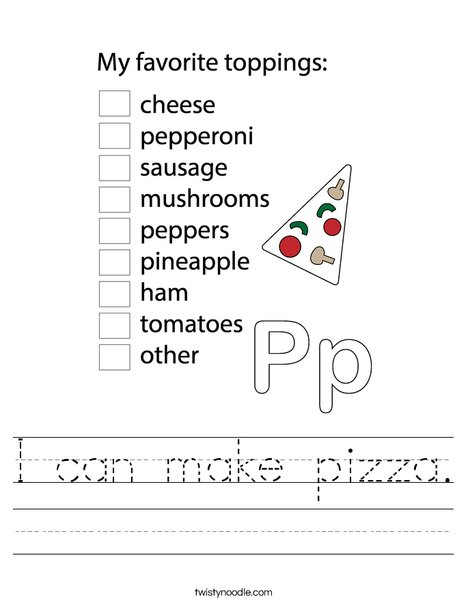 Pizza Chef Worksheet