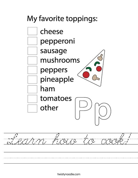 Pizza Chef Worksheet