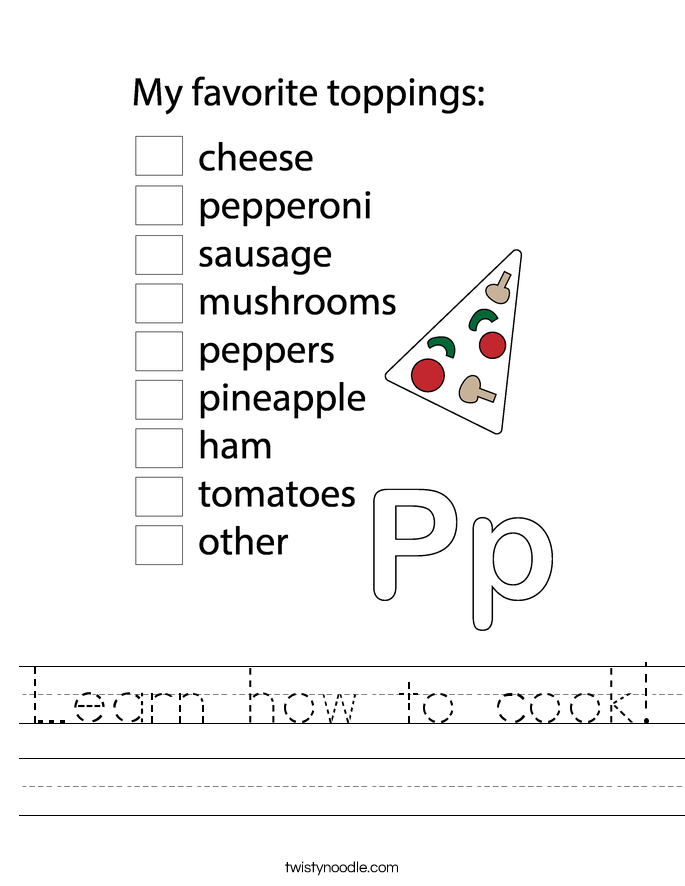 Learn how to cook! Worksheet