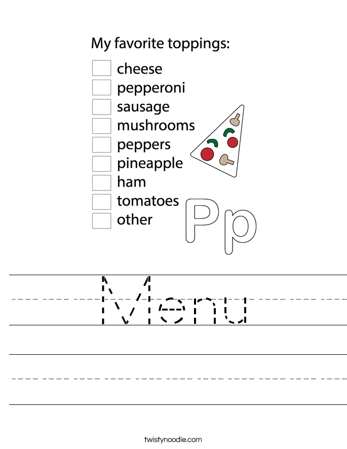 Menu Worksheet