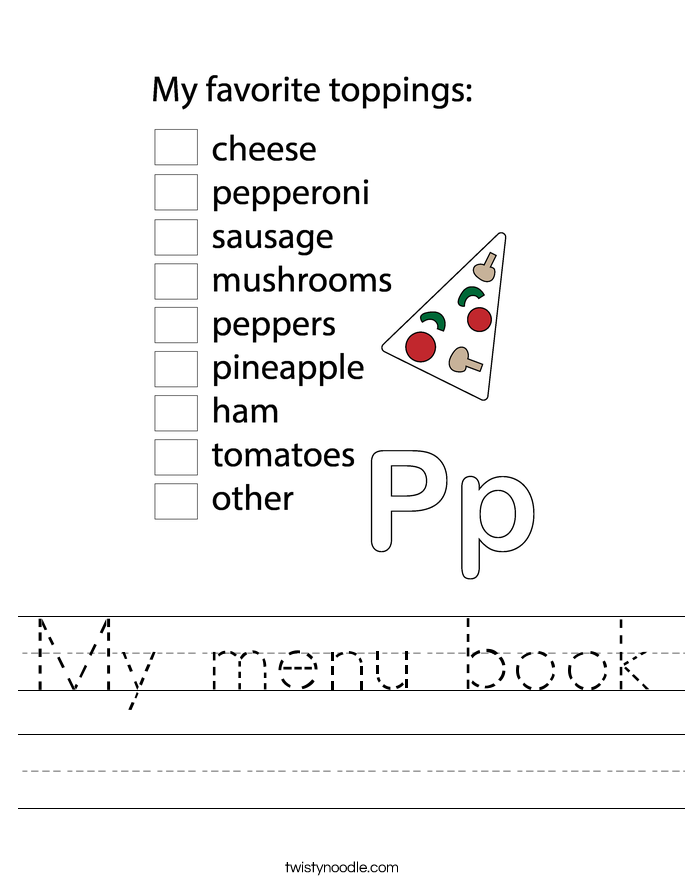 My menu book Worksheet