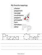 Pizza Chef Handwriting Sheet