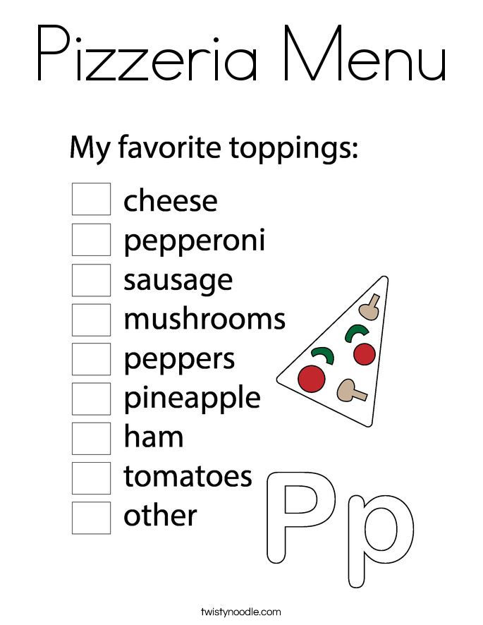 Pizzeria Menu Coloring Page