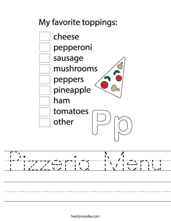 Pizzeria Menu Worksheet