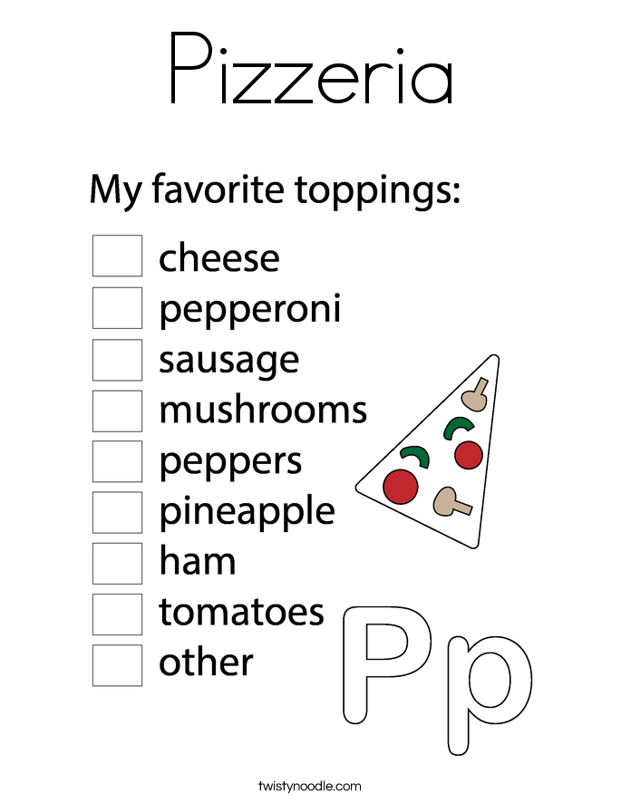 Pizzeria Coloring Page