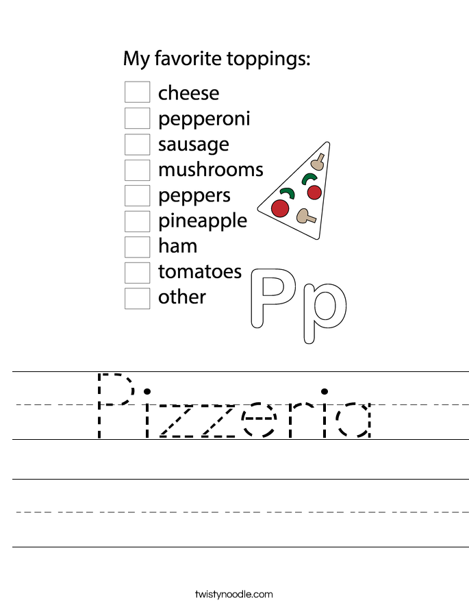 Pizzeria Worksheet