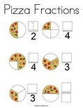 Pizza Fractions Coloring Page