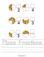 Pizza Fractions Handwriting Sheet