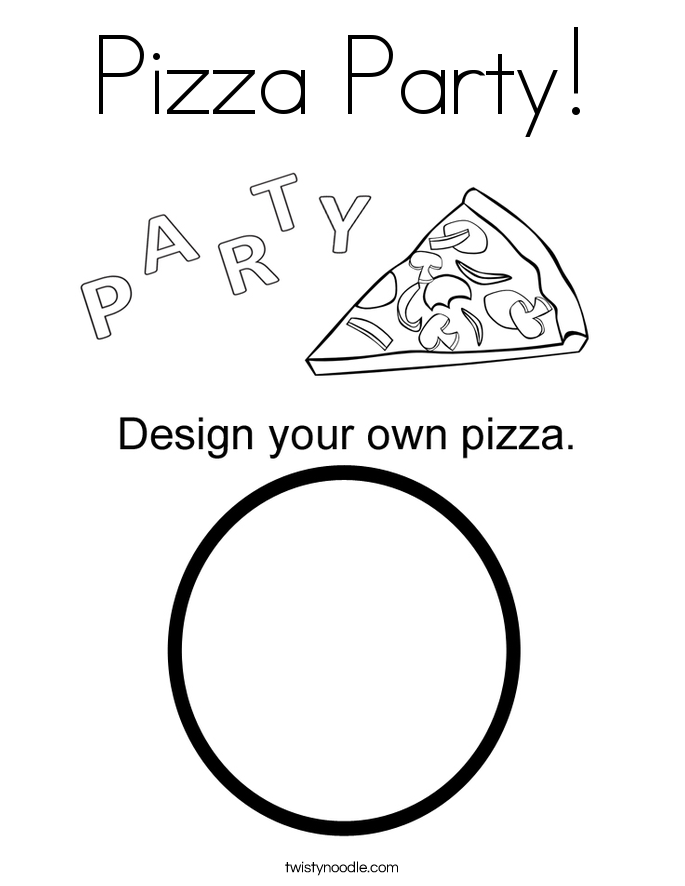 Gentil Pizza Party Coloring Page