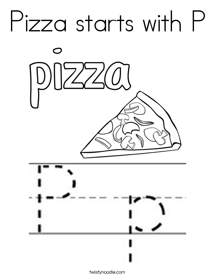 Pizza starts with P Coloring Page