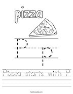 Pizza starts with P Handwriting Sheet