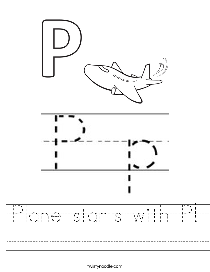 Plane starts with P! Worksheet