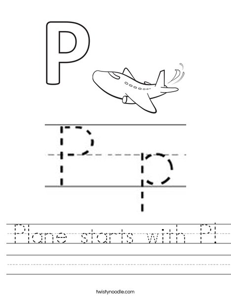 Plane starts with P Worksheet