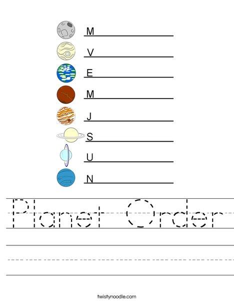 Planet Order Worksheet
