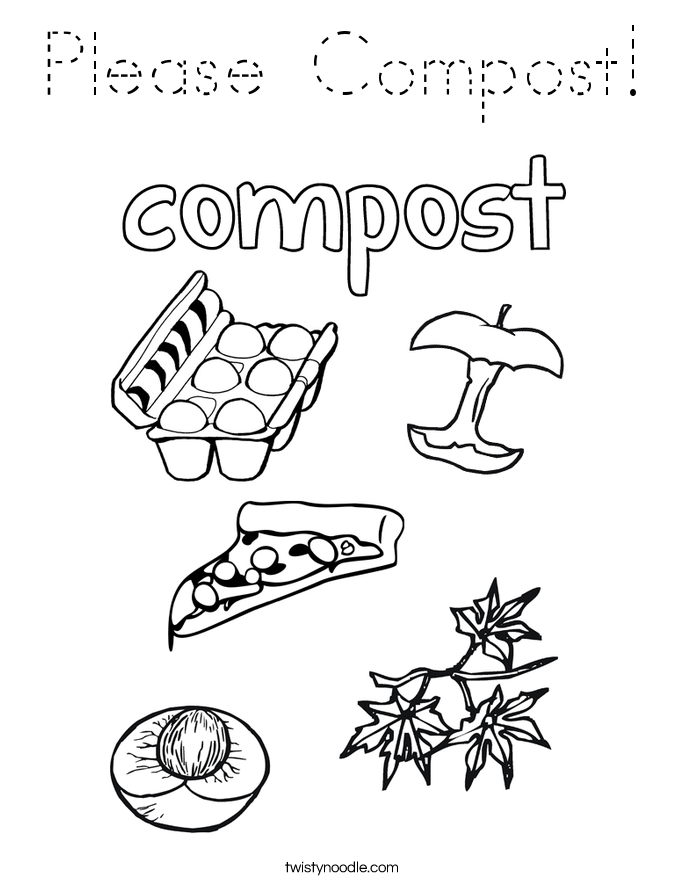 Please Compost! Coloring Page