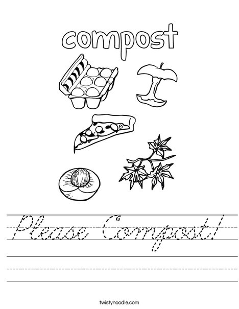 please compost worksheet cursive twisty noodle. Black Bedroom Furniture Sets. Home Design Ideas